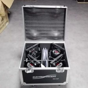 PACK 4 QPar 188 RGBWA+UV 18X10W DMX HF + FLIGHT CASE